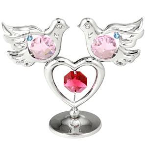 二匹の鳩の置物1 スワロフスキー クリスタル 誕生日 プレゼントで女性、男性へ お祝い ギフト 記念日 置き物|andromeda