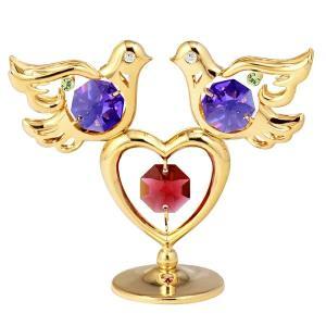 二匹の鳩の置物2 スワロフスキー クリスタル 誕生日 プレゼントで女性や男性へ お祝い ギフト 記念日 置き物|andromeda