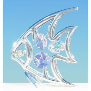 魚座 プレゼント スワロフスキー クリスタル 誕生日 男性 女性 お祝い ギフト 記念日 贈り物 熱帯魚 置き物 エンジェル フィッシュ 置物1|andromeda