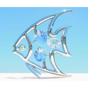 魚座 お祝い 雑貨 ギフト スワロフスキー クリスタル 誕生日 プレゼント 男性 女性 記念日 贈り物 風水 エンジェル フィッシュ 置物3|andromeda