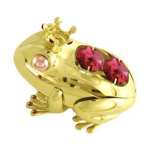 蛙 縁起物 ギフト プレゼント スワロフスキー クリスタル 誕生日 女性 お祝い 記念日 置き物 福 カエル クイーン 置物|andromeda