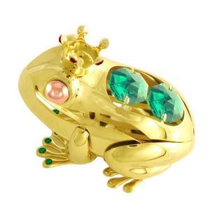 縁起物 ギフト スワロフスキー クリスタル 誕生日 プレゼント 男性 女性 お祝い 記念日 蛙 置き物 福 カエル キング 置物1|andromeda