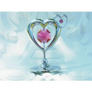 ダブル ハートの置物1 スワロフスキー クリスタル 誕生日 プレゼント 女性 お祝い ギフト 記念日 置き物|andromeda