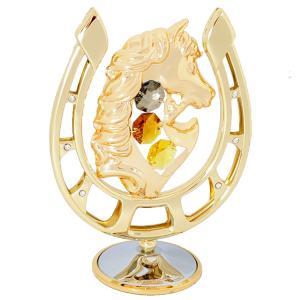 縁起物 ギフト スワロフスキー クリスタル 誕生日 プレゼント 男性 女性 午年 お祝い 記念日 置き物 馬と蹄鉄の置物|andromeda
