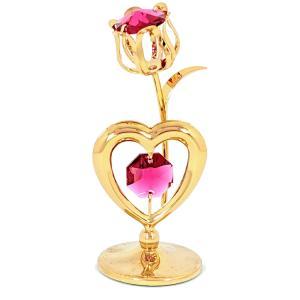 チューリップとハートの置物 スワロフスキー クリスタル 誕生日 プレゼントで女性へ花を お祝い ギフト 記念日 置き物|andromeda