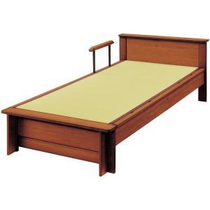ベッドフレーム 畳ベッド セミダブル 手すり付き 棚付き 日本製 ロングサイズ たたみベッド セミダ...