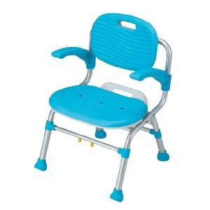 介護用品:入浴介護用品:折りたたみシャワーチェア(背付き肘掛付き) SC01 anela