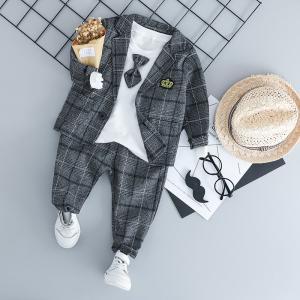 即納 スーツ ブレザー 子供 フォーマル 男の子 ベビー 3点スーツ 結婚式 ベスト ズボン シャツ キッズ 卒園式 入学式 入園式 スーツタキシード風|anemo
