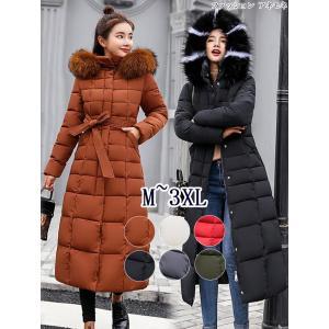 中綿コート レディース ロング ミモレ丈 大きいサイズ aライン フード スタンドカラー 無地 シンプル キルティング コート アウター ベンチコート|anemo