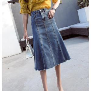 スカート デニムスカート ミモレスカート デニム ロング丈 マキシ丈  大きいサイズ ボトムス シンプルスカート レディーススカート  おしゃれ |anemo