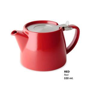 FOR LIFE スタンプティーポット Red 530ml Stump Teapot 片手で注げる便利な設計 茶器 紅茶 お茶 ハーブ|ange-yokohama