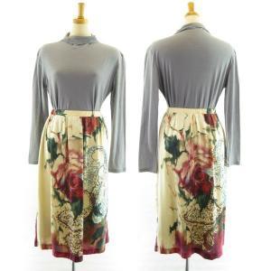 IKUKO/イクコ 大花のバラ柄プリント テンセル素材スカート DV210S2|angeikoma