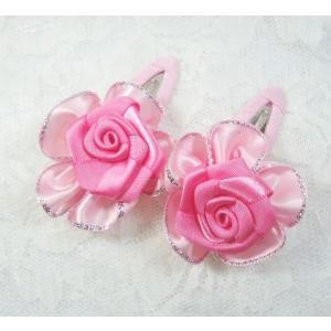 ヘアピン レディース/フラワー キッズ ヘアアクセサリー ピンク 花ヘアピン angela-web