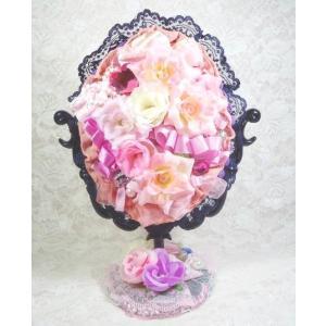 鏡フラワースタンドミラー花とレースのハンドメイドブラック&パープル|angela-web