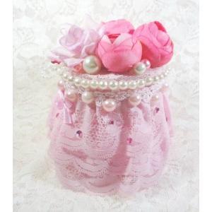 綿棒ケースフラワーお花とピンクレースのハンドメイド雑貨/宅急便配送商品/手作りデコ綿棒ケース|angela-web