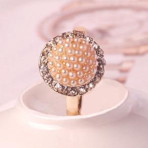 指輪レディース フラワーパールリング 結婚式 パール小粒ビジューリング |angela-web