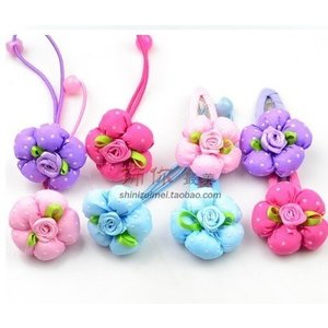 ヘアゴムフラワーキッズカラフル花デザイン可愛いヘアゴム|angela-web