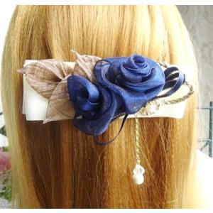 バレッタ/薔薇フラワー コットンパール 髪飾り 母の日プレゼント リボンバレッタ|angela-web