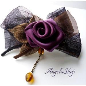 ヘアピン/サテン薔薇フラワー&リーフ 髪飾り 母の日プレゼント リボンクリップ|angela-web