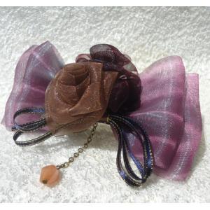 バレッタ/薔薇フラワー 髪飾り 母の日プレゼント リボンバレッタ|angela-web