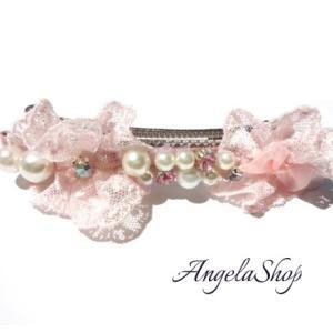 バレッタ 髪飾り/レースリボン 母の日プレゼント パールバレッタ angela-web