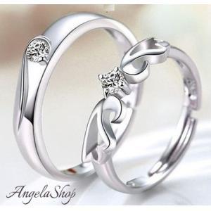 指輪czダイヤモンド天使の羽ペアリングサイズフリーシルバー925プラチナ仕上げ|angela-web