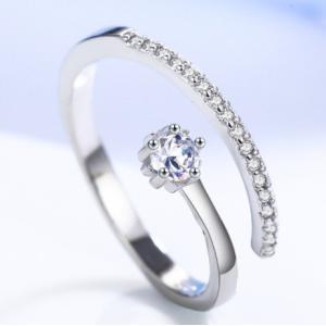 指輪 レディース 一粒czダイヤモンド ジルコニアリング フリーサイズ シルバー925 プラチナGP 女性 送料無料|angela-web