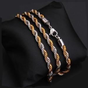 ネックレス メンズ 品質保証 金銀二色 ゴールドシルバー ロープ ステンレスチェーン 送料無料 アレルギーフリー|angela-web