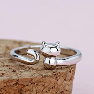 指輪 レディース 猫リング ねこ ネコ アニマル シンプル サイズフリー シルバー925 アレルギーフリー|angela-web