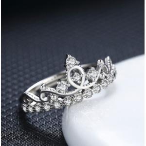 指輪 リング レディース czダイヤモンド クラウン 王冠 プリンセス 可愛いシルバー925 送料無料 アレルギー|angela-web
