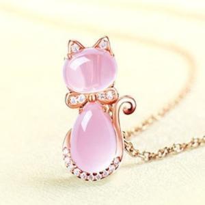 ネックレス レディース ねこ 猫 しずく ピンク水晶 ジルコ...