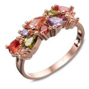 指輪 レディースカラフル彩色リング ピンクゴールド キュービックジルコニア czダイヤプラチナ18KRGP 女性 送料無料|angela-web