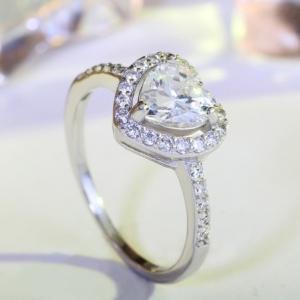 指輪 レディース ハートリング 大粒AAA級 キュービックジルコニア czダイヤモンド プラチナGP 女性 送料無料|angela-web