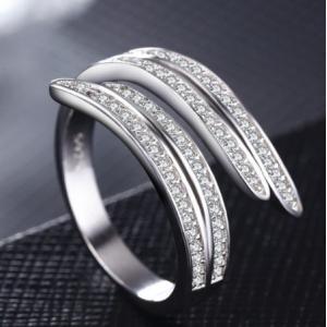 指輪 レディース ラインczダイヤ ジルコニアリング フリーサイズ シルバー925 プラチナGP 女性 送料無料|angela-web