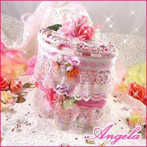 きらきらレースとお花のキュート三角コーナー/ハンドメイド雑貨/デコ|angela-web