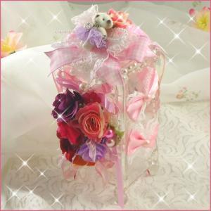 くまさんと、たっぷりお花の可愛いコットンケースA★ハンドメイド/デコ|angela-web