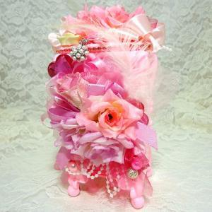 お花の コットンケース ピンク&ピンク ハンドメイド デコ|angela-web