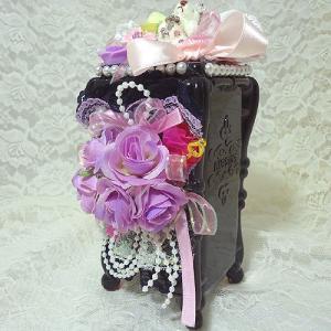 お花とくまさん コットンケース ブラック&パープル ハンドメイド デコ|angela-web