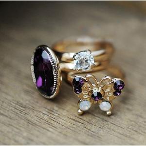 指輪 蝶々 宝石 パープル リング指輪|angela-web