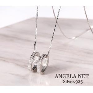 ネックレス  シルバー925 CZダイヤモンド リングループ...