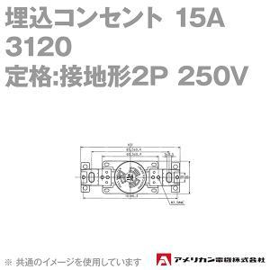 取寄 アメリカン電機 3120 埋込コンセント 15A (定格:接地形2P 250V NEMA L6-15) (黒) SN|angelhamshopjapan