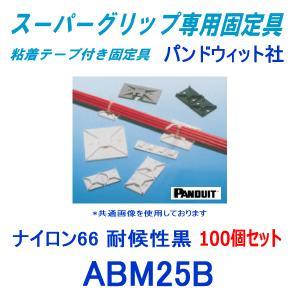 パンドウィット スーパーグリップ専用配線固定具 粘着テープ付き ABM25B (耐候性黒) (100個入) パンドウイット(PANDUIT) NN|angelhamshopjapan