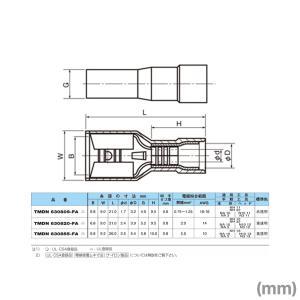 ニチフ 差込形接続端子(FA形) TMDN630855FA 黄透明 AWG 10 5.5mm2 (相手タブ厚0.8mm・100個入り) NN|angelhamshopjapan|02