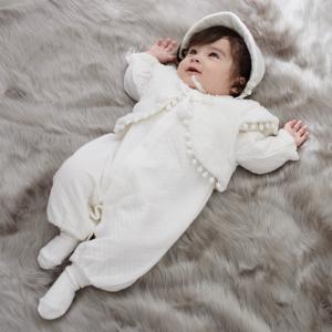 ベビー  日本製 ニットキルト 帽子 ボレロ付きドレスオール ベビー 赤ちゃん ベビー服 女の子 おんなのこ ウェア ウエア セレモニードレス|angeliebe