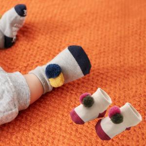8c00d89ee7416 ベビー Ampersand ポンポンソックス 赤ちゃん ベビー服 男の子 女の子 ウェア ウエア 靴下 くつした くつ下 あったか 冷え防止 冷え対策