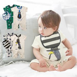 ベビー 服  cucciolo くるま&アニマル ロンパース スタイ 3点セット ギフト 出産祝い おとこのこ ベビー服 くるま アニマル|angeliebe