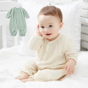 ベビー服 Ampersand やわらか ガーゼ 2WAY オール かっこいい かわいい 女の子 男の子 50 70 ロンパース 新生児|angeliebe