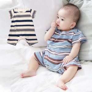 ベビー服 OCEAN&GROUND レトロボーダー半袖ロンパース ベビー 下着 肌着 ロンパース ボディスーツ 半袖 カバーオール 前開き かわいい 新生児|angeliebe