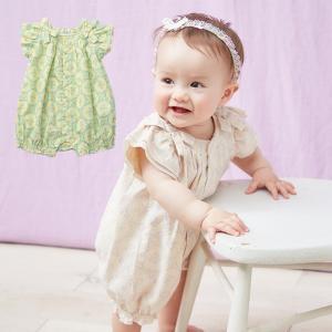 ベビー服 La stella タイル柄リボンギャザーロンパース ラ ステラ カバーオール りぼん ベビー 女の子 かわいい おしゃれ 半袖 幼児 新生児|angeliebe