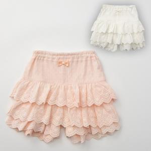 ベビー服 Kids zoo レース フリル 1分丈 ブルマ 女の子 かわいい おしゃれ ホワイト ピンク 刺繍 リボン 子供用 ズボン キッズ|angeliebe